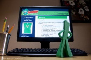 Gumby working on his e-Newsletter