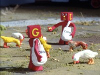 Blockheads feeding chickens