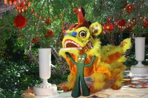 Gumby and Pokeywith Chinese New Year dragon