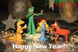 Gumby and friends toast the New Year