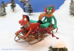 Gumby and Pokey sledding