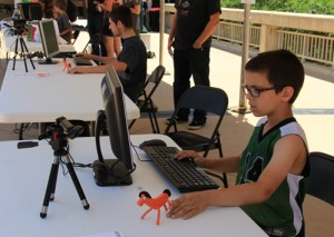 Boy animating Pokey at Gumby Fest