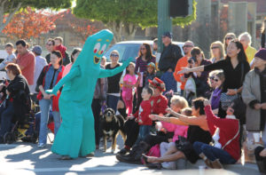 Gumby Mascot at Glendora Christmas Parade